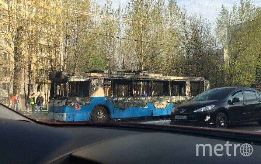 На юго-западе столицы загорелся троллейбус с пассажирами. Фото vk.com/mskdtp