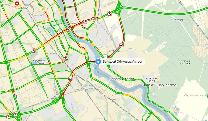 Пробка из-за ДТП на 13.40 12 мая. Фото скриншот Яндекс.Карты.