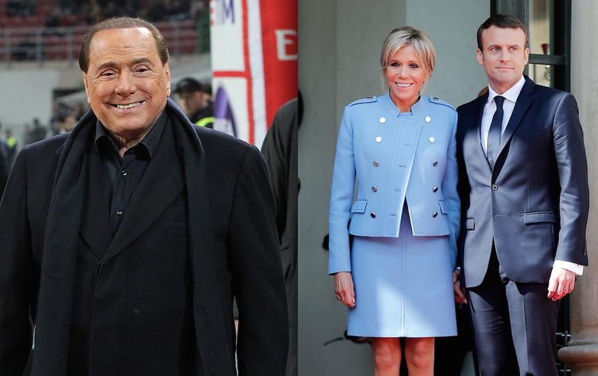 Сильвио Берлускони и Эммануэль Макрон с женой Брижит. Фото Getty