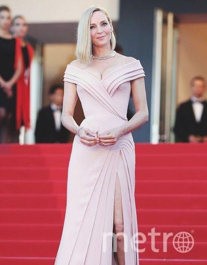 Ума Турман шокировала платьем сглубоким декольте наКаннском кинофестивале