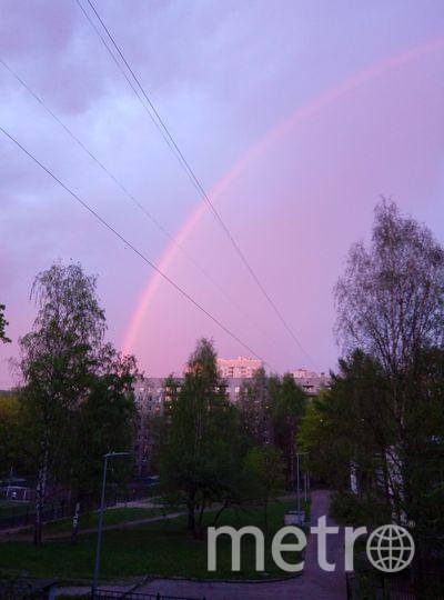 Фото радуги в Петербурге из соцсетей.