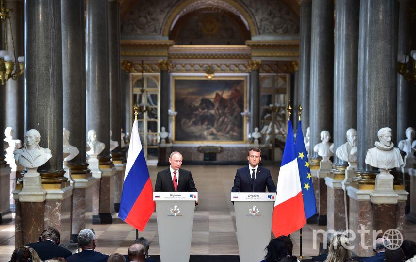 Путин и Макрон подвели итоги встречи в Версале. Фото AFP