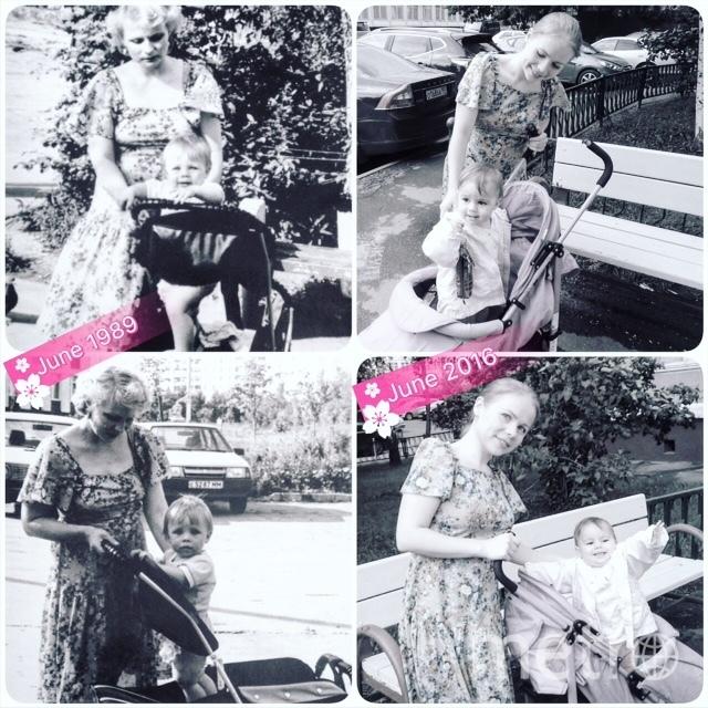 Слева на фото: я и моя дочь в 1989 году. Справа: моя дочь со своей дочкой в 2016 году. Платье то же самое. Фото Валентина Ивановна (мама и бабушка).