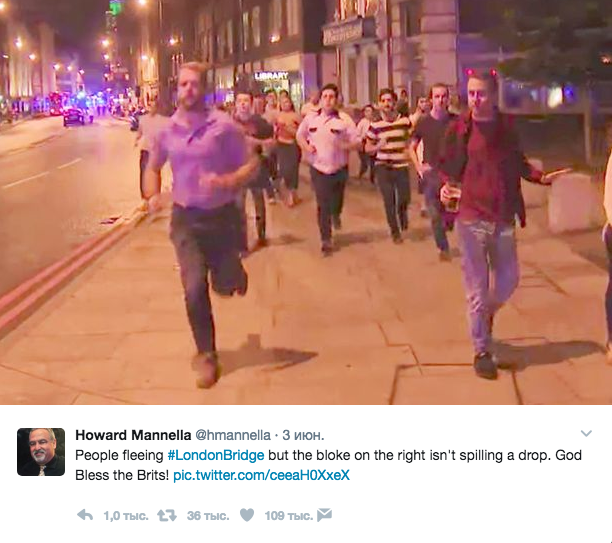 Спасаясь отлондонских террористов, англичанин пытался непролить пиво