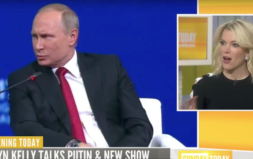 Мегин Келли и Владимир Путин. Фото Скриншот Youtube