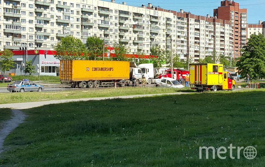 Провал асфальта в Рыбацком. Фото Роман Андреев vk.com/spb_today, vk.com
