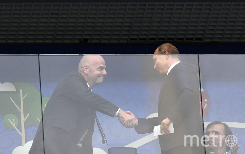 Президент ФИФА Джанни Инфантино и президент России Владимир Путин. Фото AFP