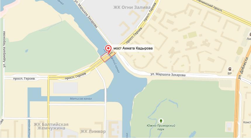Петербуржцы переименовали мост Кадырова в Ахматовский. Фото Яндекс.Карты.