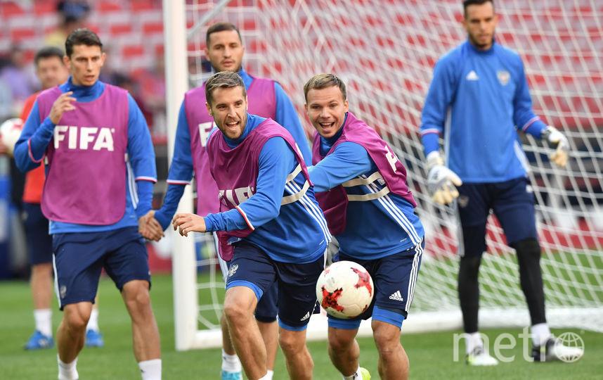Сборная России на тренировке перед игрой с португальцами. Фото AFP