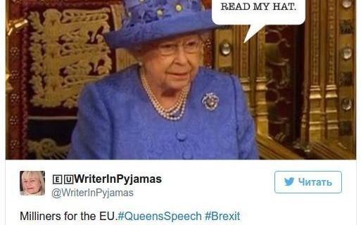 Некоторые восприняли головной убор королевы как намек на то, что она не хочет выхода королевства из Евросоюза.