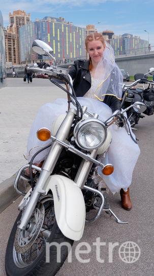 Наталья Олейникова. участница мотопробега невест.