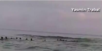 Люди выстроились в живую цепь и спасли семью.