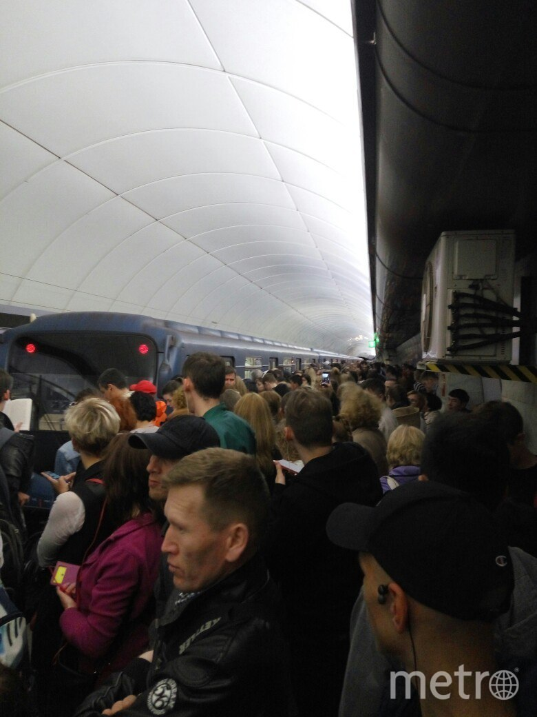 В метро скопились толпы людей из-за падения человека на рельсы. Фото vk.com