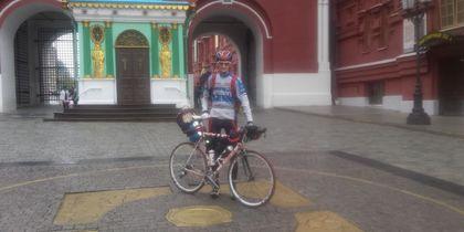 Анатолий Рябов стартовал с нулевого километра, с Красной площади. Фото предоставлено Анатолием Рябовым