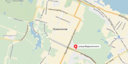 Сняряд нашли на пересечении Федюнинского и Победы в Ломоносове. Фото яндекс.карты
