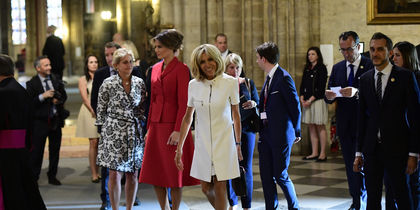 Мелания и Дональд Трамп в Париже. Фото AFP