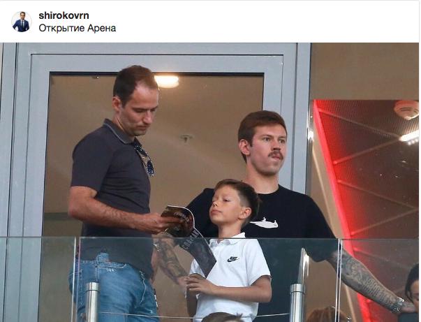 Cмолов смотрел матч Спартак-Краснодар вместе с Романом Широковым и его сыном. Фото instagram