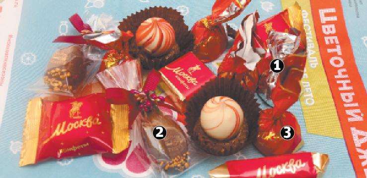 1. Лидер рейтинга редакции – трюфель из Саранска. 2. На втором месте – московская шоколадная конфета с муссом из чёрной смородины. 3. На третьем – ещё одно лакомство по рецепту столичных кондитеров с вишнёвой начинкой. Фото Василий Кузьмичёнок