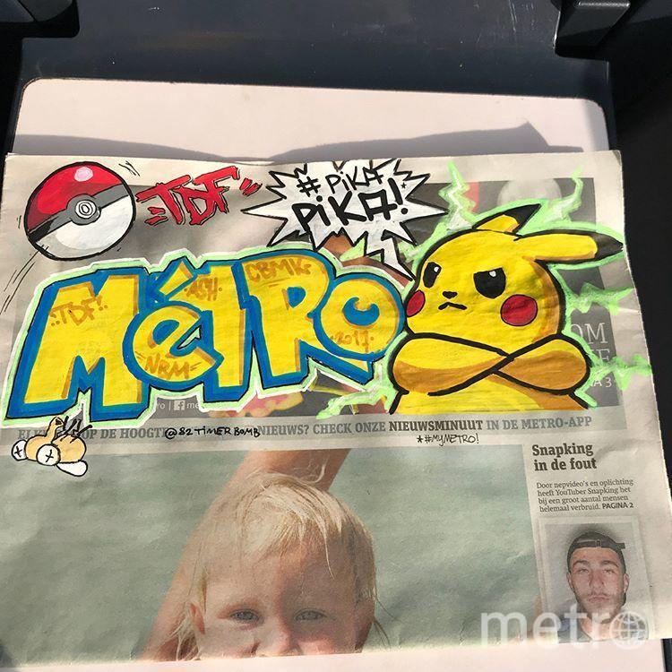 Граффити на газете Metro. Фото Instagram @82timerbomb