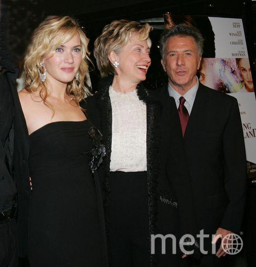 Дастин Хоффман с Кейт Уинслет и Хиллари Клинтон. Фото Getty