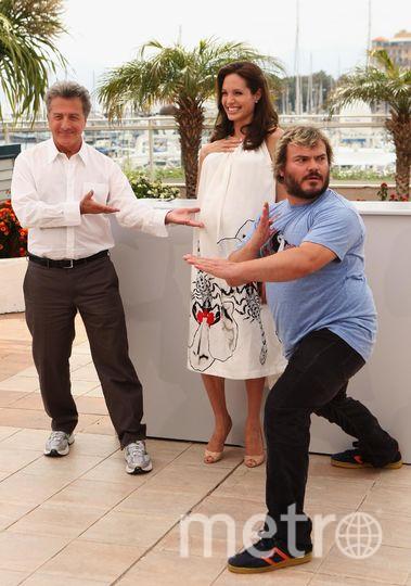 Дастин Хоффман. с Анджелиной Джоли и Джеком Блэком в Каннах - 2008 год. Фото Getty