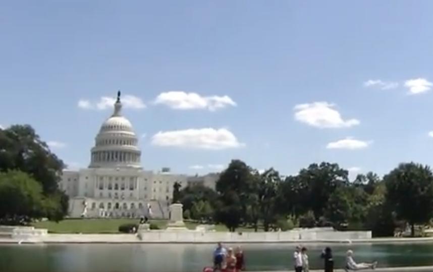 Российскй военный самолёт в небе над Вашингтоном. Фото Скриншот Youtube
