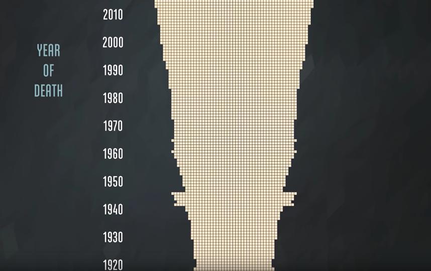 Соотношение смертей по годам. Фото Скриншот Youtube