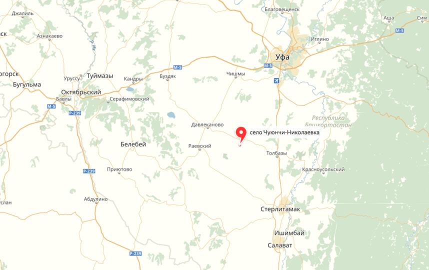 Чуюнчи-Николаевка Давлекановского района Башкирии. Фото яндекс.карты
