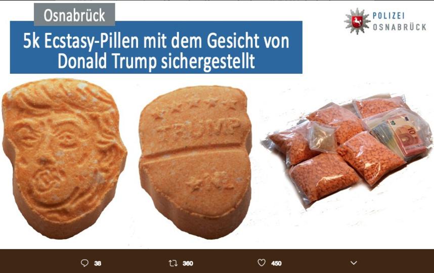 В Германии задержали партию наркотиков в форме головы Трампа. Фото скриншот twitter.com/Polizei_OS