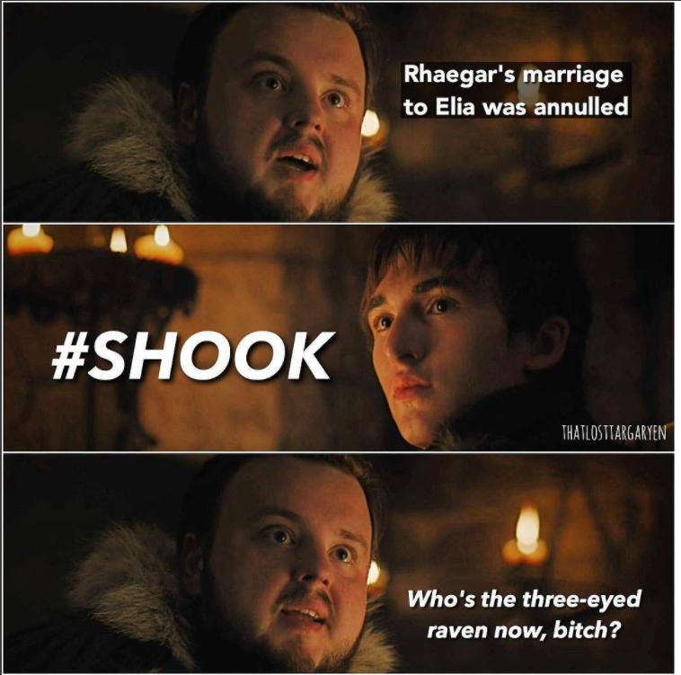 """Первый брак Рейгара был расторгнут. Ну и кто теперь здесь трёхглазый ворон!"""" – спрашивает Сэм. Фото instagram.com/gaemofthrones"""