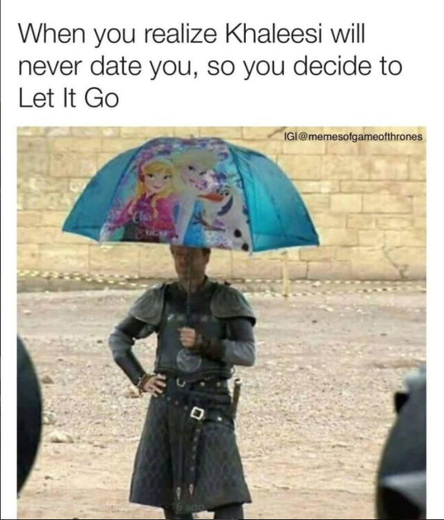 """Сир Джорох под зонтиком с героинями """"Холодного сердца"""". Let it go – шутят, фанаты, предлагая рыцарю не рассчитывать на сердце Дейнерис. Фото instagram.com/gaemofthrones"""