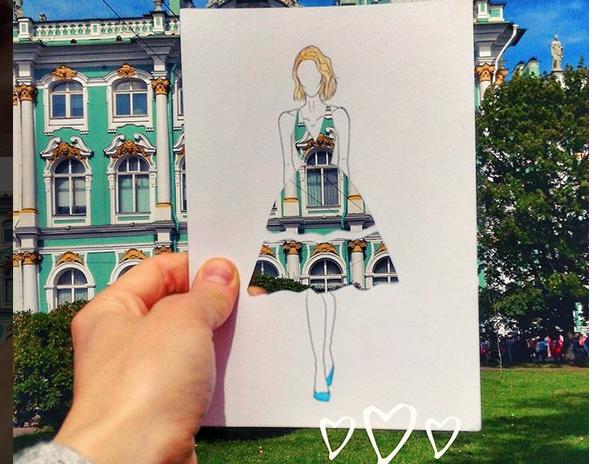 Пейзажы Петербурга на одежде - фотоархив.
