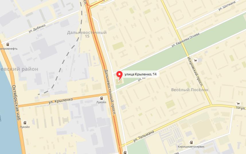 Криминальный инцидент произошел вечером 31 августа у дома №14 по улице Крыленко в Петербурге. Фото яндекс.карты