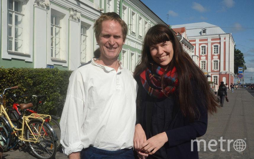 Питер Хёг с супругой в Петербурге.