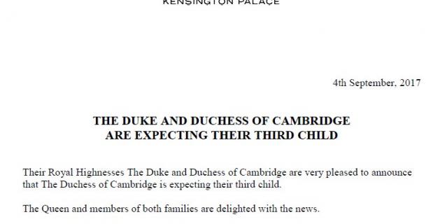 Заявление Кенсингтонского дворца о беременности Кейт.