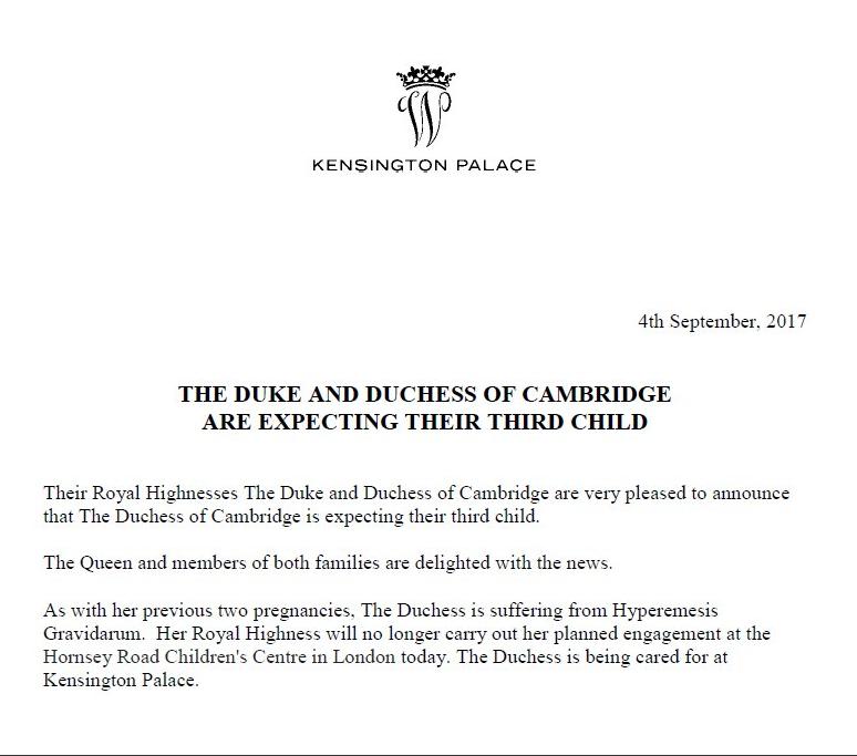 Заявление Кенсингтонского дворца о беременности Кейт. Фото официальный Twitter Кенсингтонского дворца.