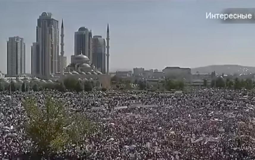 Митинг в Грозном. Фото Скриншот Youtube