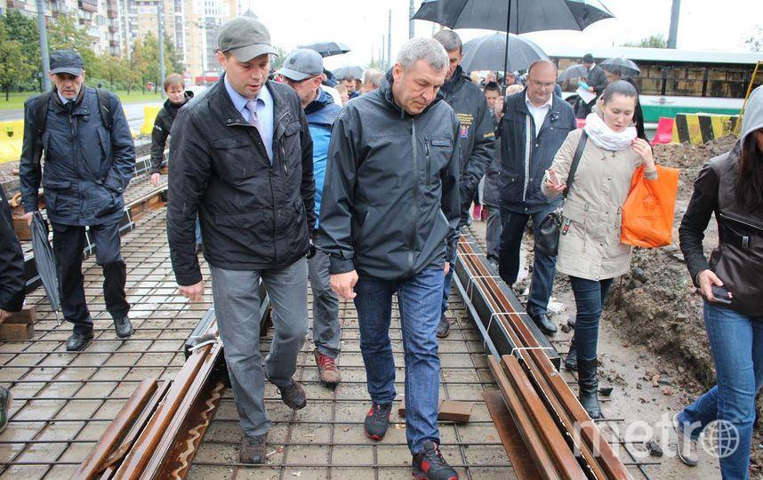 На строительстве ветки частного трамвая. Фото http://gov.spb.ru