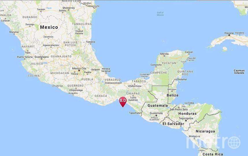 Эпицентр землетрясения в Мексике. Фото Google.map.