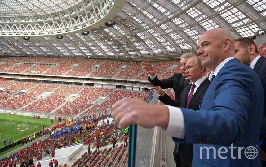 """Президент ФИФА Джанни Инфантино в """"Лужниках"""". Фото AFP"""