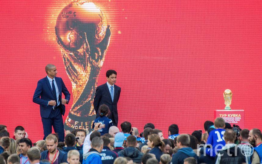 Кубок мира на стадионе в Лужниках, где пройдёт открытие Чемпионата мира-2018 в Москве. Фото AFP