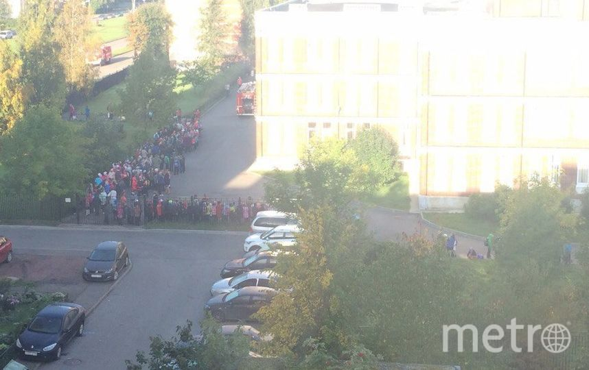 Фото школы №567 в Петергофе утром в понедельник. Фото https://vk.com/spb_today