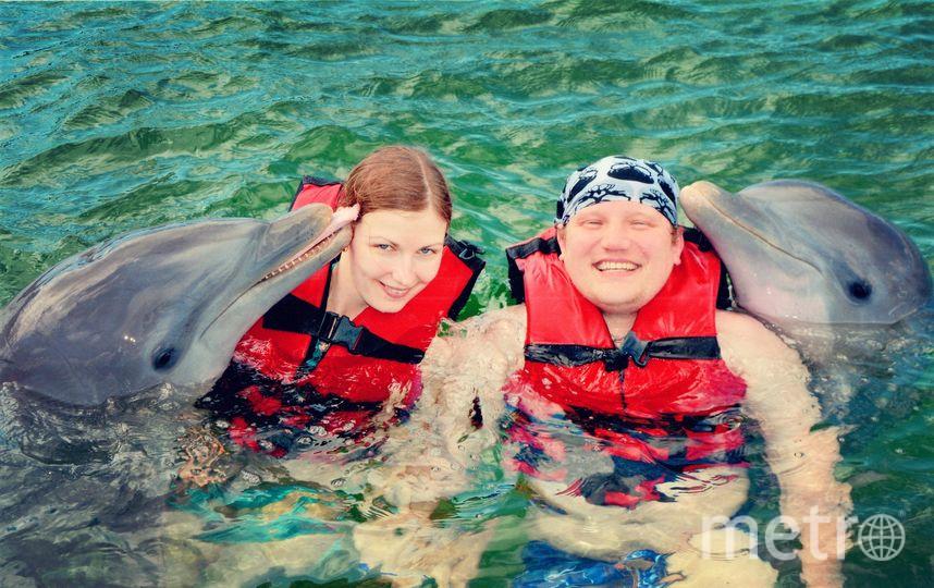 Купались в океане с дельфинами, на Кубе. Фото Андрей Осташов.