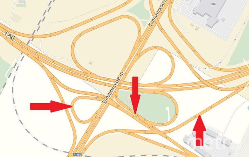 Эти съезды ремонтируют на развязке КАД с Таллинским шоссе.