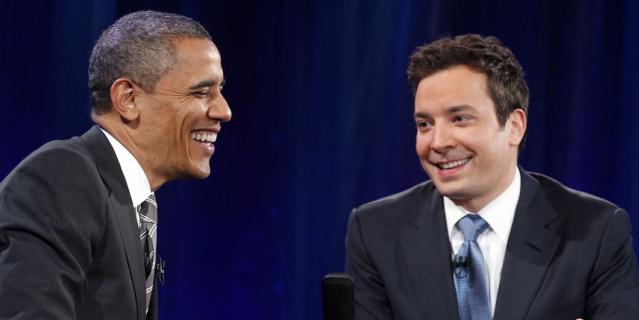 Джимми Фэллон и Барак Обама.
