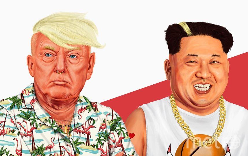 """Дональд Трамп и Ким Чен Ын в образе хипстеров. Фото Амит Шимони, """"Metro"""""""