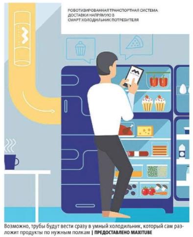 Возможно, трубы будут вести сразу в умный холодильник, который сам разложит продукты по нужным полкам. Фото предоставлено maxitube