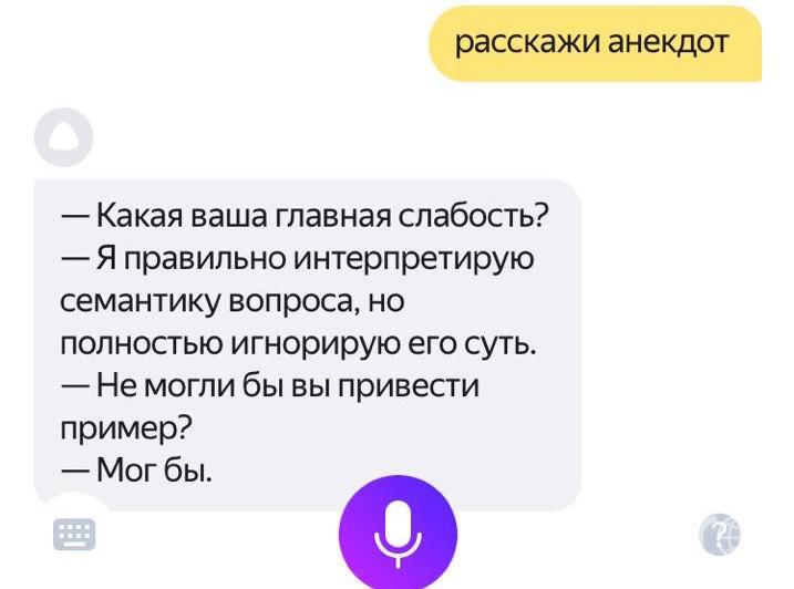 """Шутки у Алисы по большей части очень интеллектуальные. Фото скриншот Яндекс, """"Metro"""""""