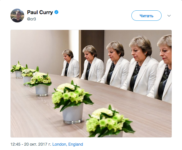 Фото с грустной Терезой Мэй неожиданно стало мемом. Фото Скриншот Twitter: @cr3