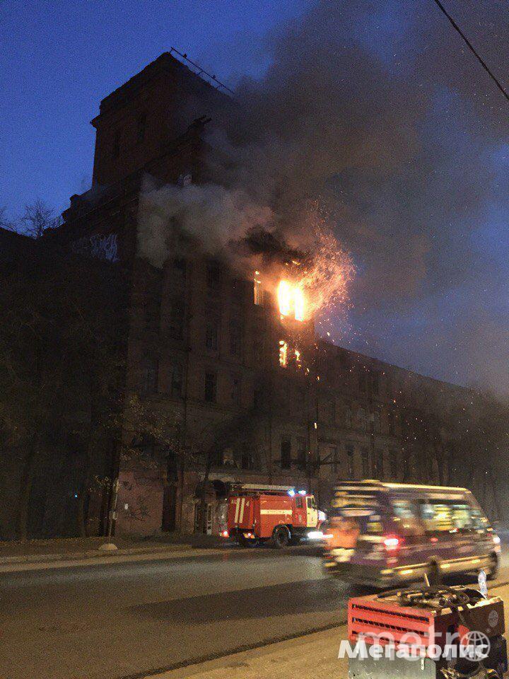 В Петербурге горит здание завода.